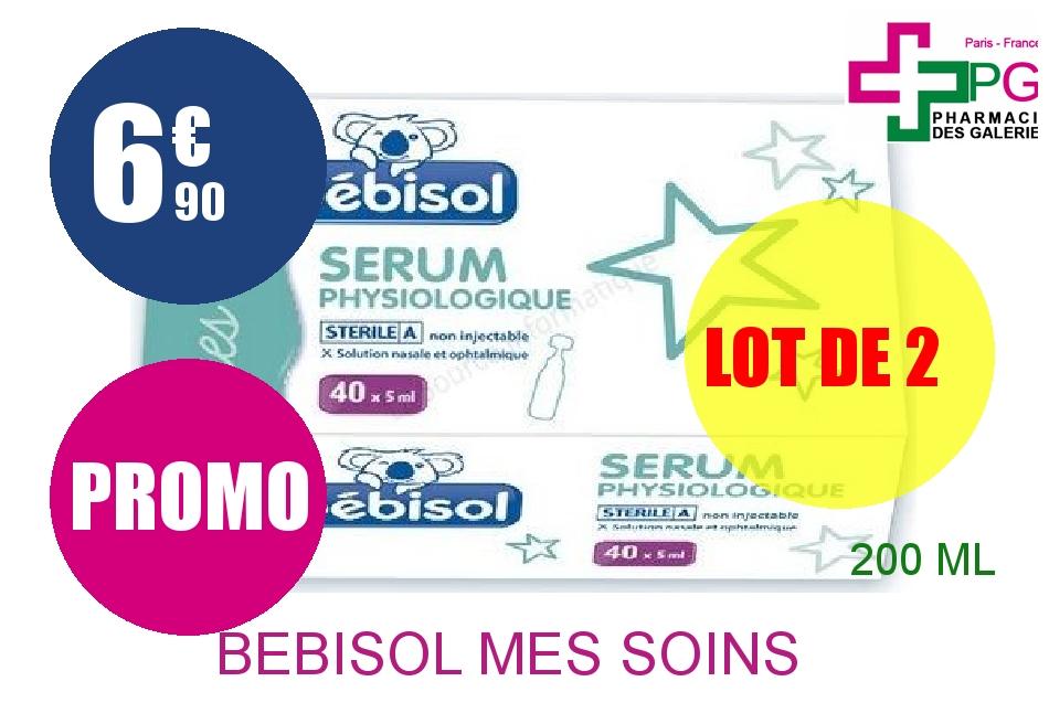 BEBISOL MES SOINS Solution Nasale sérum physiologique 40 Doses de 5ml Lot de 2