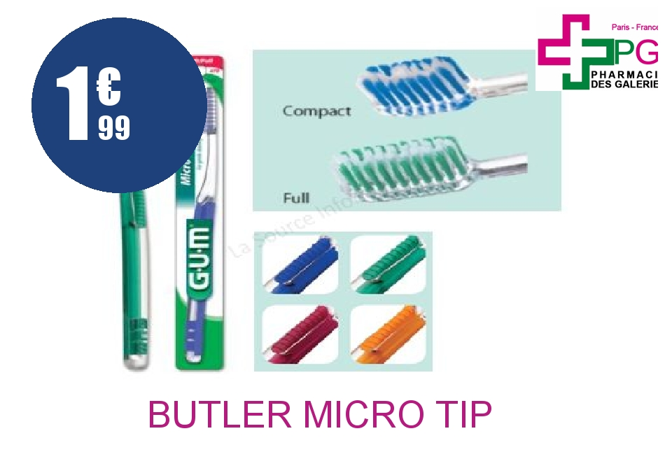 butler micro tip 473 brosse dents compact m dium. Black Bedroom Furniture Sets. Home Design Ideas