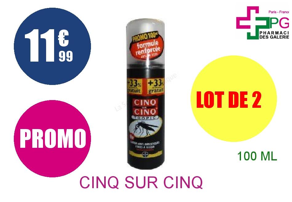 CINQ SUR CINQ TROPIC Lot anti-moustique Spray de 100ml Lot de 2