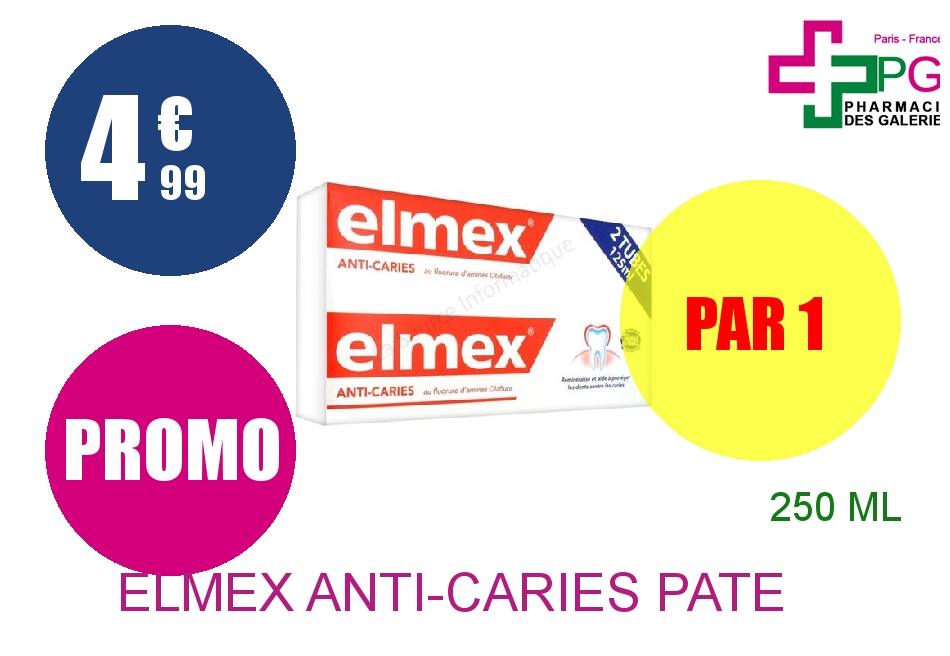 ELMEX ANTI-CARIES Pâte dentifrice 2 Tube de 125ml