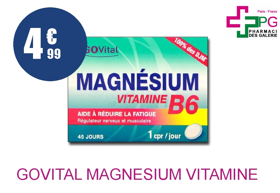 Achetez GOVITAL Magnésium Vitamine B6 Comprimé Boîte de 45