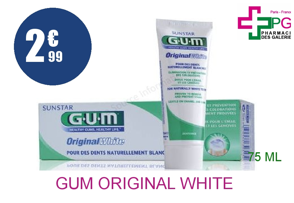 GUM ORIGINAL WHITE Pâte dentifrice blanchissant Tube de 75ml