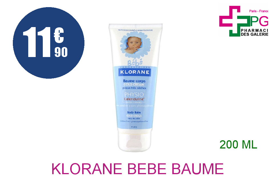 Achetez KLORANE BEBE Baume corps au Cold cream Physiocalenduline Tube de 200ml