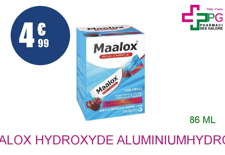 Achetez MAALOX HYDROXYDE D'ALUMINIUM/HYDROXYDE DE MAGNESIUM 460 mg/400 mg Suspension Buvable maux d'estomac fruits rouges en sachet  20 Sachet de 4,3ml