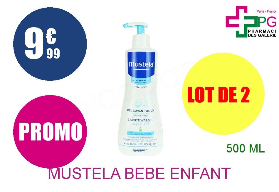 MUSTELA BEBE ENFANT Gel lavant doux Flacon Pompe de 500ml Lot de 2