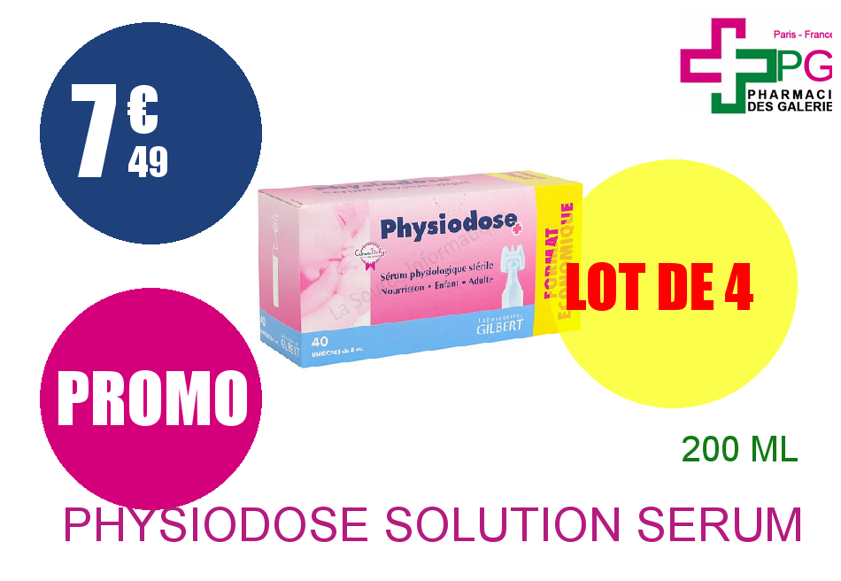 PHYSIODOSE Solution sérum physiologique 40 Unidose de 5ml Lot de 4