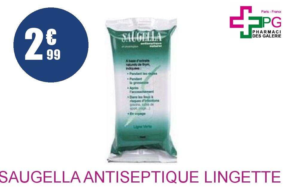 Achetez SAUGELLA ANTISEPTIQUE Lingette hygiène intime Paquet de 15