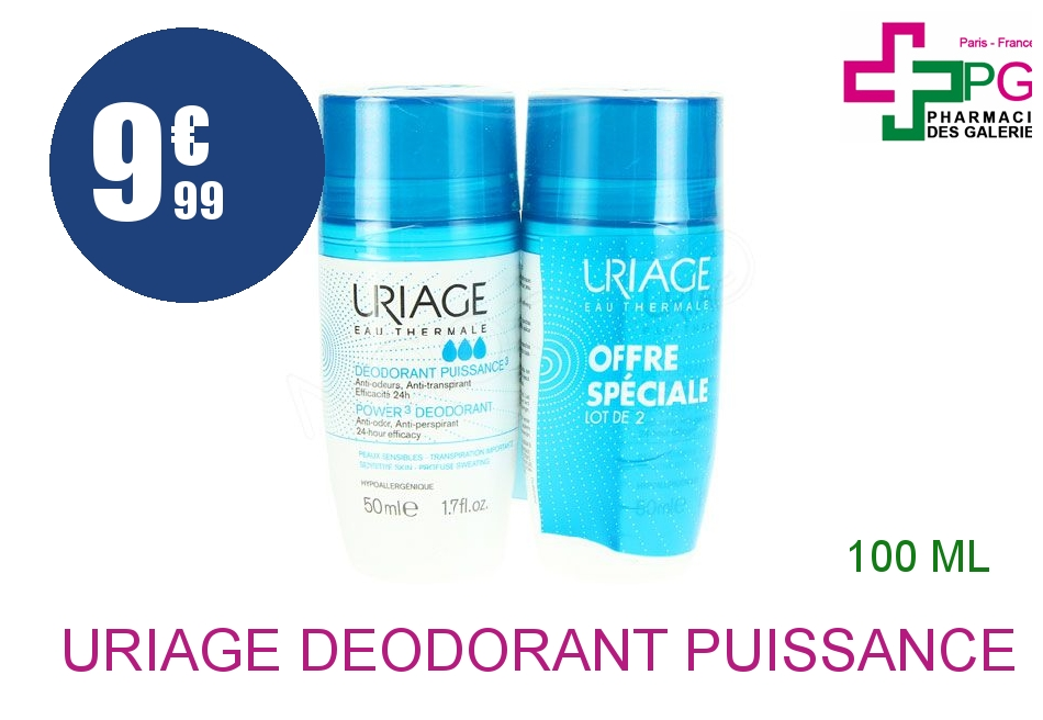 URIAGE Déodorant puissance 3 2 Roll-on de 50ml
