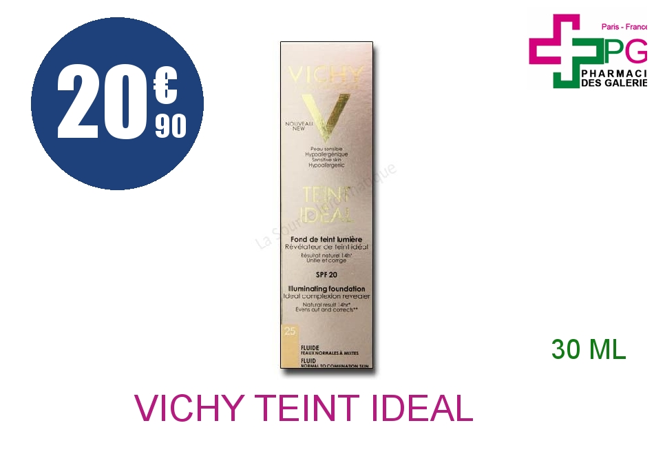 vichy teint ideal fluide n 25 flacon pompe de 30ml. Black Bedroom Furniture Sets. Home Design Ideas